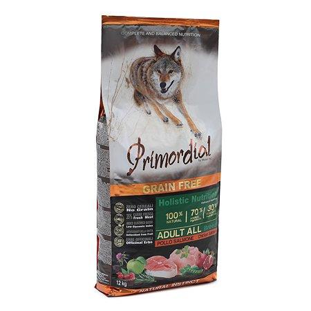 Корм для собак Primordial беззерновой курица-лосось 12кг