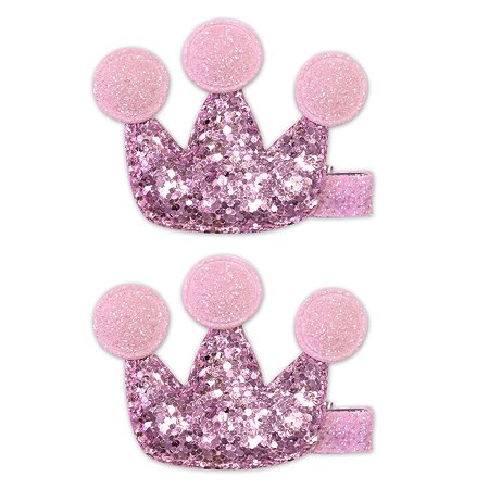 Набор зажимов для волос B&H Корона 2шт Нежно-розовый W0020