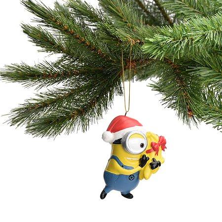 Ёлочная игрушка Despicable me Dave-Carl в шапочке Санты с бананами 9 см