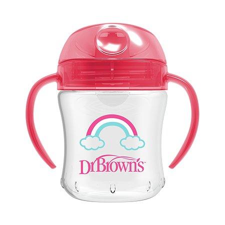Чашка-непроливайка Dr Brown's с ноcиком 180мл с 6месяцев Розовая