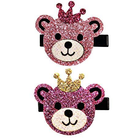 Набор зажимов для волос B&H Мишки в короне 2шт Нежно-розовый-Розовый W0143