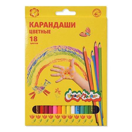 Карандаши цветные КАЛЯКА МАЛЯКА 18 цветов шестигранные с заточкой 3+