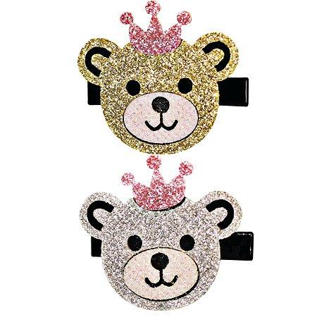 Набор зажимов для волос B&H Мишки в короне 2шт Серебро-Золото W0144