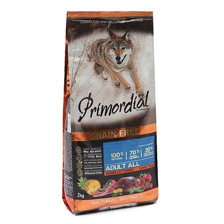 Корм для собак Primordial беззерновой тунец-ягненок 2кг