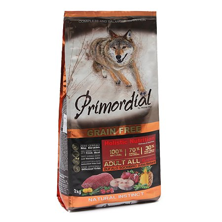 Корм для собак Primordial беззерновой буйвол-скумбрия 2кг