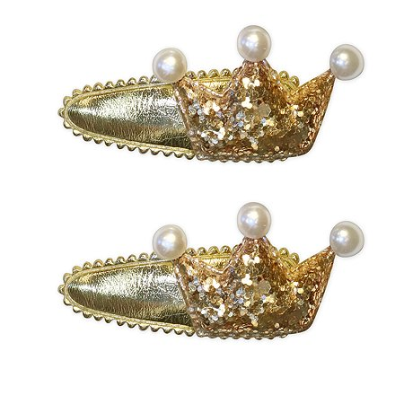 Набор заколок для волос B&H Клик-клак Короны Золото 2шт W0026