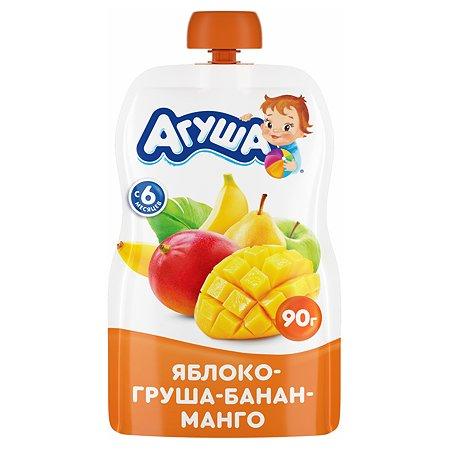 Пюре Агуша яблоко-груша-банан-манго 90г с 6месяцев