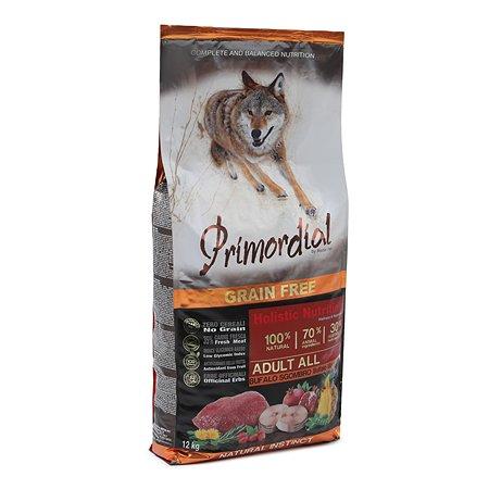 Корм для собак Primordial беззерновой буйвол-скумбрия 12кг