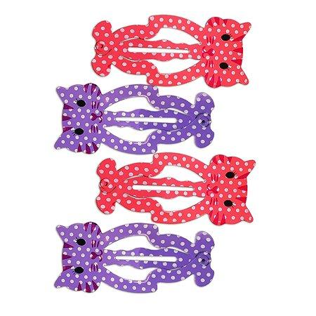Набор заколок для волос B&H Клик-клак Котики Фиолетовый-Нежно-розовый 4шт W0136
