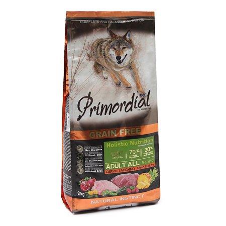 Корм для собак Primordial беззерновой оленина-индейка 2кг