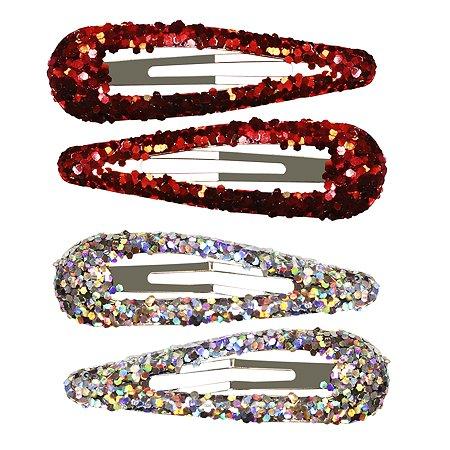 Набор заколок для волос B&H Клик-клак глиттерные Серебро-Красный 4шт W0133