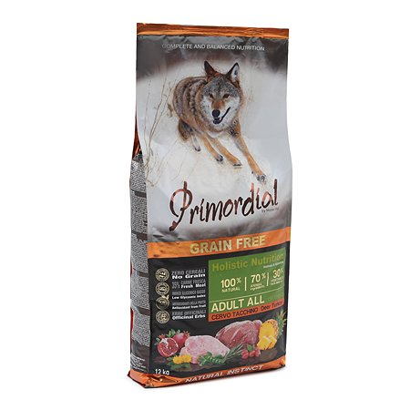 Корм для собак Primordial беззерновой оленина-индейка 12кг