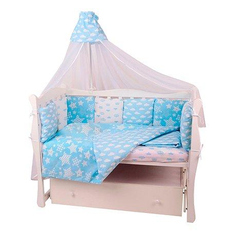 Комплект постельного белья AMARO BABY Premium Небо 8предметов Голубой