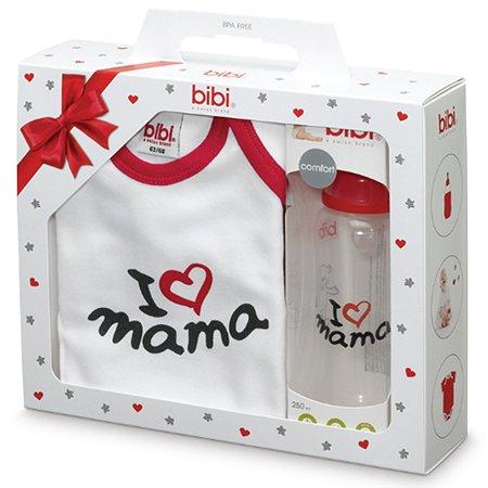 Подарочный набор Bibi Мама классика боди рост 62-68 см + бутылочка антиколиковая 250 мл