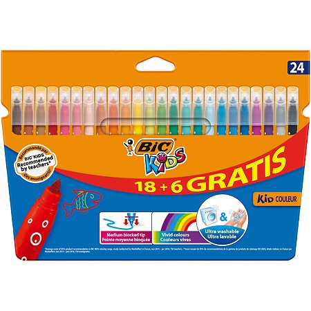 Фломастеры BIC Кид Кулёр 18+6 цветов