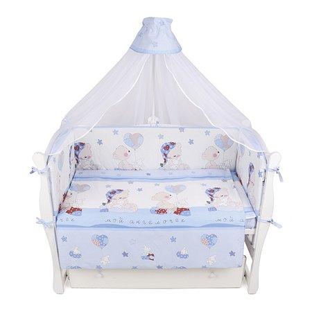 Комплект постельного белья AMARO BABY Сонный медвежонок 7предметов Голубой