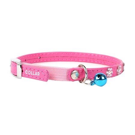 Ошейник для кошек CoLLar Glamour Цветочек с резинкой и стразами Розовый 32557