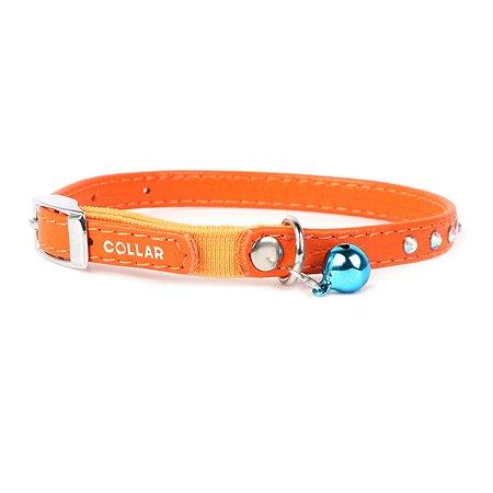 Ошейник для кошек CoLLar Glamour с резинкой и стразами Оранжевый 32554