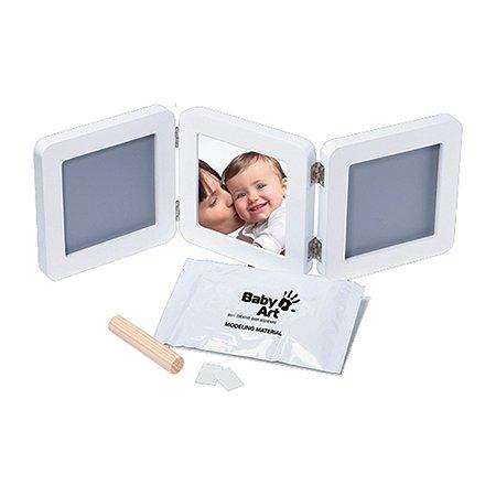 Рамочка тройная BabyArt (белая) подложка бирюзов