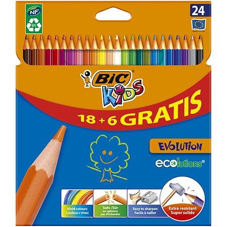 Карандаши цветные BIC Evolution 18+6цветов 920298