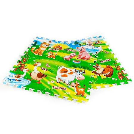 Коврик-пазл Играем вместе Домашние животные, 8 сегментов