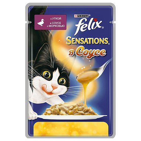 Корм влажный для кошек Felix Sensations 85г в cоусе c уткой и морковью пауч