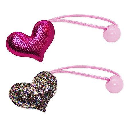 Набор резинок для волос B&H Сердце с мульти блестками+Сердце Розовае 2шт W0010
