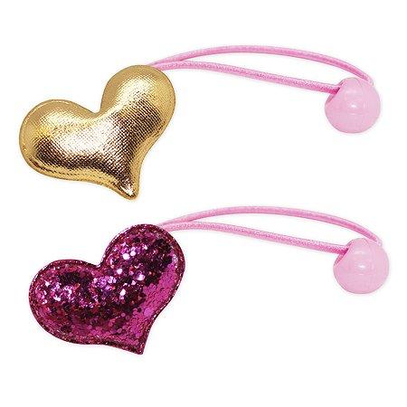Набор резинок для волос B&H Сердце с блестками Розовое+Сердце Золотое 2шт W0008