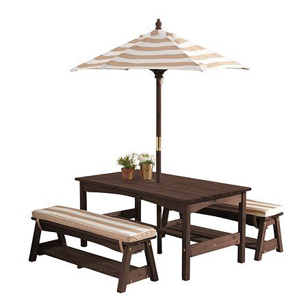 Стол с двумя скамейками и зонтом KidKraft Бело-Коричневый полосы 00500_KE