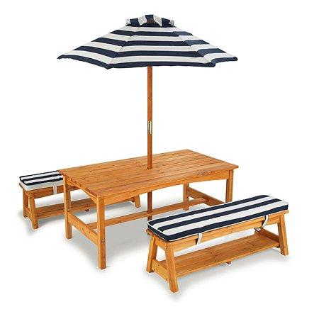 Стол с двумя скамейками и зонтом KidKraft Сине-Белые полосы 00106_KE