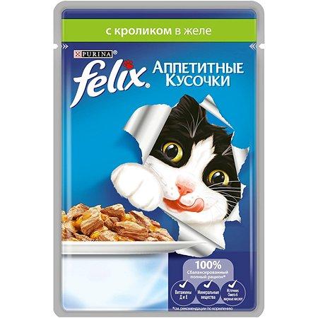 Корм влажный для кошек Felix 85г Аппетитные кусочки с кроликом пауч