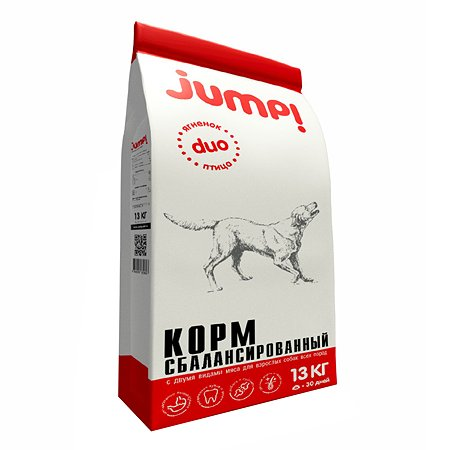 Корм для собак Jump! Duo ягненок-птица 13кг