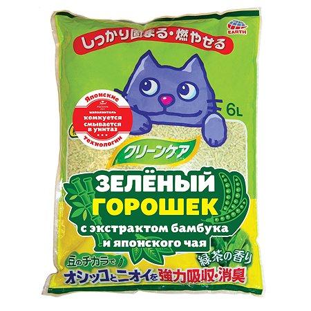 Наполнитель для кошек EarthPet Зелёный горошек с экстрактом бамбука и японского чая 6л