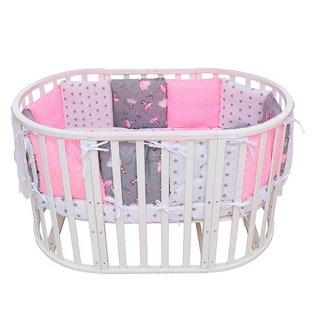 Борт в кроватку AMARO BABY Балет 12подушек Серый-Розовый ABDM-3112-BS