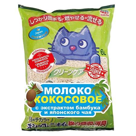 Наполнитель для кошек EarthPet Молоко кокосовое с экстрактом бамбука и японского чая 6л