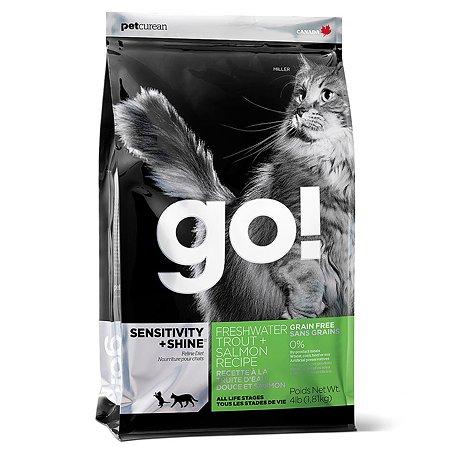 Корм сухой для кошек GO 1.81кг беззерновой с форелью и лососем для чувствительного пищеварения