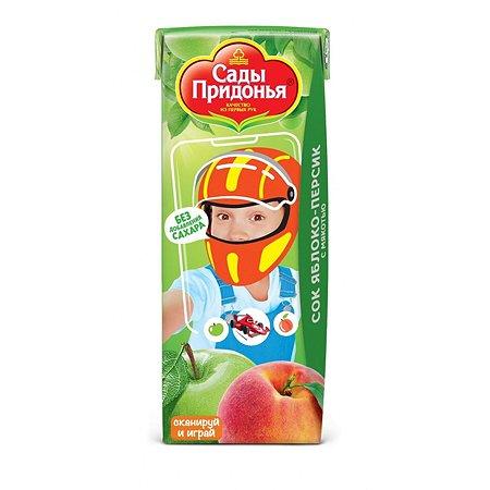 Сок Сады Придонья яблоко-персик с мякотью 0.2л с 6месяцев