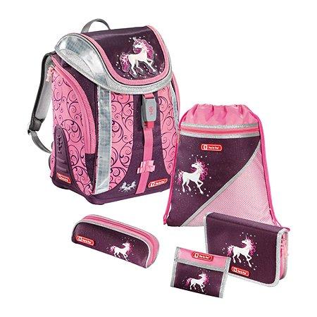 Ранец Hama Unicorn Flexline 5 предметов баклажановый/розовый