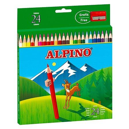 Карандаши ALPINO цветные шестигранные 24 цв. с точилкой