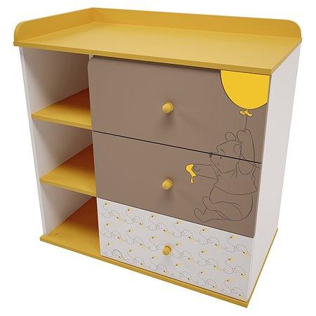 Комод Polini kids Disney Baby Медвежонок Винни и его друзья с 3 ящиками Белый-Макиато 0001608.47