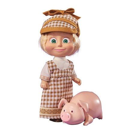 Кукла Simba Маша и медведь Маша в клетчатом сарафане и кепке с хрюшкой