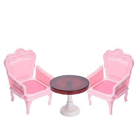 Набор мебели Огонек кресла со столиком для куклы розовые