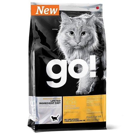 Корм сухой для кошек GO 1.81кг беззерновой с уткой для чувствительного пищеварения