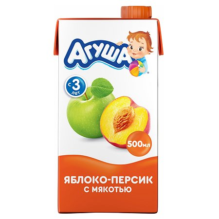 Сок Агуша яблоко-персик с мякотью 500мл с 5месяцев
