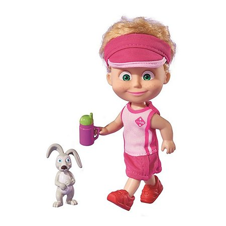 Кукла Simba Маша и медведь Маша в спортивном розовом комплекте и кепке с зайчиком
