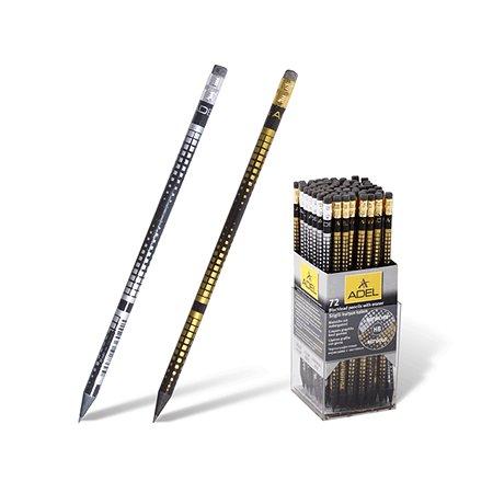 Карандаш ч/г Adel Blackline/Silver Gold Net HB черно-сереб./черно-золс ластиком (5 шт.)