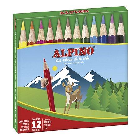 Карандаши ALPINO цветные шестигранные компактного размера 12 цв.