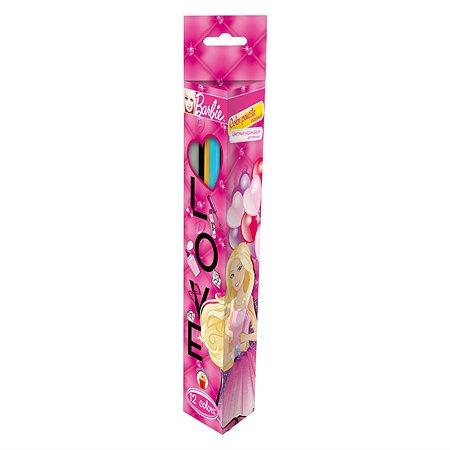 Карандаши Kinderline цветные Barbie трехгранные  12цв