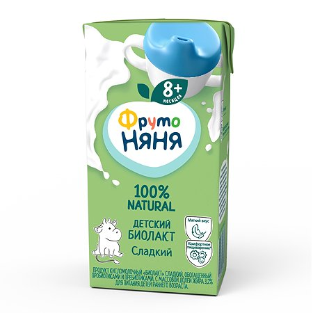 Биолакт ФрутоНяня с сахаром 3.2% 0.2лс 8месяцев