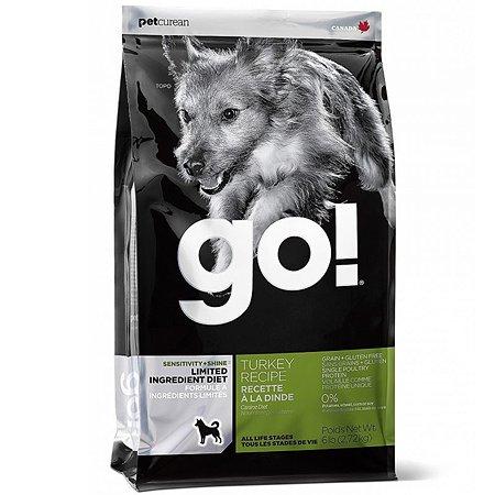 Корм для собак GO для чувствительного пищеварения беззерновой с индейкой сухой 11.3кг